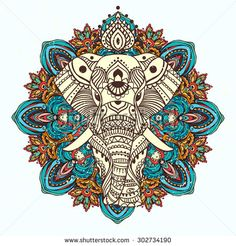 Greeting Beautiful card with Elephant. Frame of animal made in vector. Perfect…