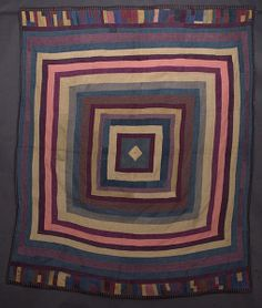 Amish Wool Concentric Frames Quilt: Circa 1920; Pa.