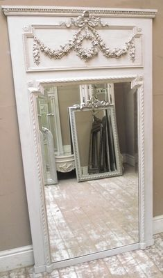 IMW2583 Stunning French Antique Trumeau Mirror. Like the trim molding around festoon and swag