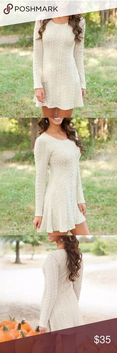 """WHITE KNIT SWEATER DRESS Gorgeous white sweater dress perfect with cute boots in fall and winter. --- I am modeling the size medium- I am 5'6"""" and 120 pounds Dresses Mini"""