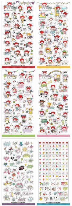 PVC Sticker Pippiday Girl Sticker Set Korean by AllisonDIY