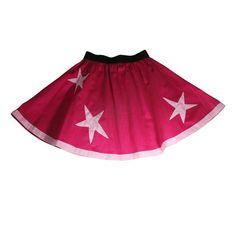 adorable #Summer girl's flared #fuchsia #skirt with light pink #stars #handmade by AummadeKids on #Etsy @AumMade