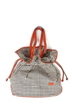 Quote Leather and Canvas Bloom Bag -- Houndstooth
