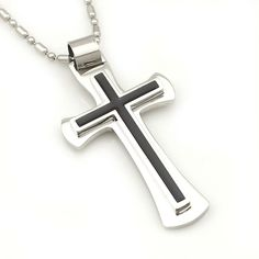Christmas Gift, Free Shipping, 316l Stainless Steel Cross Necklace for men women, Fashion Jewelry, Wholesale WP316
