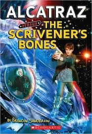 """Alcatraz Vs. The Scavenger Bones (Alcatraz #2) Brandon Sanderson.  Paraphrased conversation from a later book in the series. """"My favorite part was the part where we went into outer space"""" """"We should've done that in the second book, so the cover would make sense."""""""