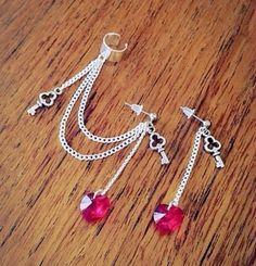 Item: Key to my heart red ear cuff earring