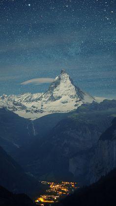 Matterhorn Mountain Switzerland Blue Night iPhone 6 Wallpaper