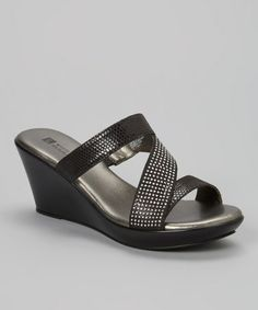 Another great find on #zulily! Black Rare Wedge Sandal by White Mountain #zulilyfinds