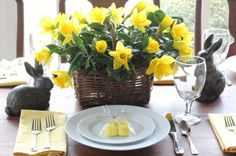 Easy Easter table setting - fresh daffodils in basket, Target - Smith/Hawkin garden bunnies, packaged Peeps for place setting -  Talk of the House