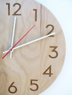 10 inch medium size modern wood wall clock with beautiful natural woodgrain and classy modern numbers #Etsy #Share #EtsyShop Shared by #BaliTribalJewelry http://etsy.me/1sDZ302