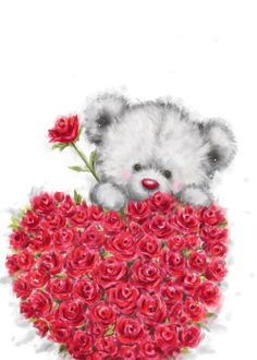 Valentine's Day, Cute Bear with a Bunch of Heart Shaped Red Roses card. Personalize any greeting card for no additional cost! Cards are shipped the Next Business Day. Happy Valentine Day Quotes, Valentines Day Wishes, Valentine Day Love, Teddy Bear Quotes, Teddy Beer, Valentines Day Drawing, Nurse Art, Teddy Bear Pictures, Bear Wallpaper