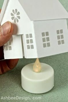 Make your own village from scratch - Ashbee Design Silhouette Projects: Tea Light Village Tutorial Christmas Paper, Christmas Home, Christmas Holidays, Christmas Decorations, Christmas Ornaments, 3d Cuts, House Template, Putz Houses, Village Houses