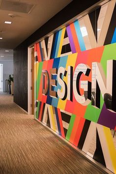 Colorful glass decals make quite an impact at Logitech Office Wall Art, Office Walls, Environmental Graphics, Environmental Design, Office Interior Design, Office Interiors, Window Graphics, Office Wall Graphics, Ecole Design