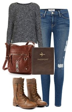 Elena Gilbert Inspired Airport Outfit by mytvdstyle on Polyvore featuring Topshop, Frame Denim, UNIONBAY, FOSSIL, Inspired, tvd and thevampirediaries