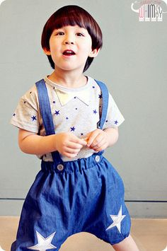 Stars Overall Denim Shorts for boys and girls 1-7. Cool kids fashion at Color Me WHIMSY.