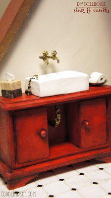 Todd & Lindsey: $1 DIY Dollhouse Sink & Vanity