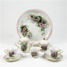 Miniature Porcelain Tea Set White w Pink & Gold Trim, Dark & Light Pink Flowers w Green, Tray, Teapot w Lid, Sugar w Lid, Creamer, Two Cups w Two Saucers.