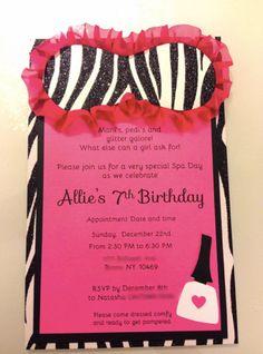 Spa Party Invites.
