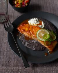 Ancho-and-Honey-Glazed Salmon with Black Bean Sauce and Jalape