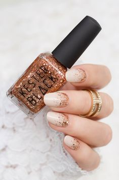 Rose gold nails with Kester Black Dasher rose gold nail polish