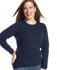Charter Club Plus Size Cashmere Crew-Neck Sweater
