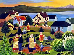 """Gunnella illustration for """"How the Ladies Stopped the Wind"""". House Illustration, Iceland, Golf Courses, Illustrator, Houses, Painting, Ice Land, Homes, Painting Art"""