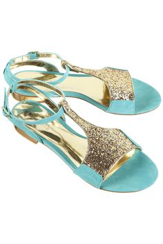 hidden mint glitter sandals