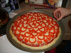 Valentine Pizza!!  I always make a heart shaped one... but his is cool!!
