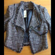 Bebe cropped tweed jacket Gorgeous bebe tweed jacket !!! Sleeves are cropped. Size 6 NWT bebe Jackets & Coats
