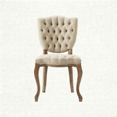 Subtle and smaller scaled, yet chic and sophisticated, this delightfully tufted chair dresses up any meal. Available in a soothing, shade of linen.