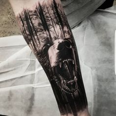 beautiful double exposure tattoo by Benji Roketlauncha