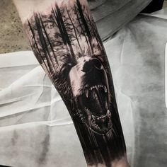 beautiful double exposure tattoo by Benji Roketlauncha