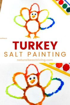 How to Make The Best Thanksgiving Turkey Salt Painting, Watercolor Salt Painting for a fun Turkey Preschool Craft, See how to Paint with Salt and Glue for a Fall Turkey craft kids love, Raised salt painting Thanksgiving Crafts For Toddlers, Thanksgiving Crafts For Kids, Thanksgiving Activities, Fall Crafts, Holiday Crafts, Diy And Crafts, Thanksgiving Turkey, Creative Activities For Kids, Creative Kids