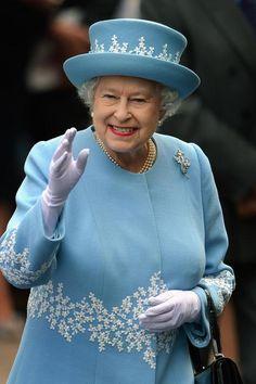 Queen Elizabeth II wears a beautiful Wedgewood-inspired hat & coat to a children's hospital in Enniskillen, Northern Ireland in celebration of her Diamond Jubilee, June 26, 2012.