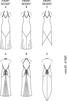 Vogue Patterns 7365 Evening gown pattern.  Schematic showing design lines of the pattern. Vera Wang laid out the dress w no side seams. This would be easy to do & would take advantage of the bias. PIN links to Patternreview.com where you can read about the experiences of other people who have made this dress.