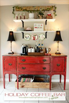 Holiday Coffee & Espresso Bar on a weathered red buffet. Would like this as a bar & in blue. Get out the buffet. Coffee Station Kitchen, Home Coffee Stations, Espresso Kitchen Cabinets, Painting Kitchen Cabinets, Kitchen Sideboard, Sideboard Furniture, Bar Furniture For Sale, Furniture Makeover, Repurposed Furniture