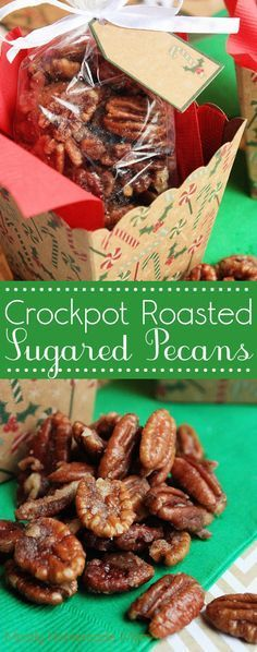 Crockpot Roasted Sugared Pecans - Halved pecans tossed with butter, powdered sugar, and spices and slow cooked until glazed. These make wonderful Christmas gifts! #christmasgifts