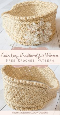 Ribbons and Grace Easy Crochet Headband Pattern for Women - Kirsten Holloway Designs - - This easy crochet headband pattern is a beautiful, lacy ear warmer accessory for winter or spring. It's full of beautiful textures, and quick to make. Crochet Ear Warmer Pattern, Knit Headband Pattern, Free Crochet Headband Patterns, Crochet Ear Warmers, Crochet Gratis, Crochet Baby, Knit Crochet, Moogly Crochet, Doilies Crochet