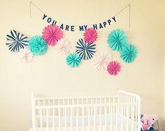 Nursery Wall Hanging Decor . Pomwheel Medallion Wall Art . Crib Mobile . Baby Room Wall Decor . Girls Room Decorations .