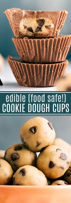 No-bake and easy chocolate cups filled with edible cookie dough. Candy Recipes, Sweet Recipes, Baking Recipes, Cookie Recipes, Dessert Recipes, Dessert Ideas, Just Desserts, Delicious Desserts, Yummy Food
