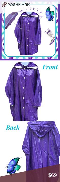 "WIPPETTE💜 Purple Rain Slicker ~ One Size 💜Purple and white hooded rain slicker swing coat, one size. Excellent pristine condition! Very roomy, too, so easy to move around in, comfortably. 💜 Shoulders - 21"", sleeves - 19 1/2"", bust - 34"" across (yes, across! 😳) , length - 37"" Wippette Jackets & Coats"