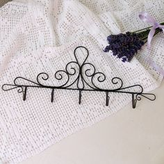 Romantic wire hanger is suitable in any room for towels, pot holders, . Dimensions: total length of hanger is 31 cm. Wire Hanger Crafts, Wire Hangers, Wire Crafts, Metal Crafts, Diy And Crafts, Wire Letters, Quilt Hangers, Wire Ornaments, My Doll House