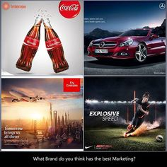 """We see these brands everywhere and they make us feel inspired with their dynamic  adverts. Question is, which one of these four brands do you think has the best overall marketing?  #Intense #Intensedigital #Digitalmarketing #Socialmediamarketing #Socialmedia #brands #benz #mercedes #CocaCola #coke #Nike #flyemirates #neymar #branding #advertising #digitaladvertising #smartphone #inspiration #Motivation"" by @intense_ng. • • • • • #digitalmarketing #onlinemarketing #marketing #branding…"