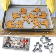 Ninjabread men cookie cutters!  These are so friggin awesome and my godson would LOVE to help me bake them!  ^-^  WANT!  Found at thinkgeek.com