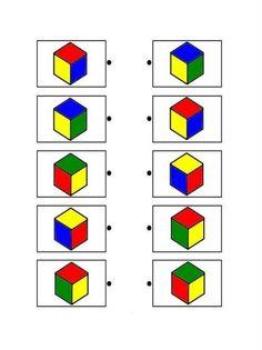 Printable brain teaser worksheets for helping preschool and kindergarten kids practice to recognize cube shapes. Montessori Activities, Preschool Worksheets, Learning Activities, Preschool Activities, Visual Perceptual Activities, Shapes Worksheets, Thinking Skills, Brain Teasers, Kindergarten