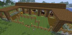 Minecraft Stables by SapphireGirlMC on DeviantArt Minecraft Horse Stables, Minecraft Barn, Minecraft Castle, Minecraft Plans, Minecraft Construction, Minecraft Crafts, Minecraft Houses Blueprints, Minecraft Things To Build, Minecraft Stuff