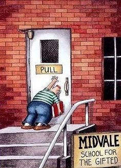 My favorite The Far Side ever. (Gary Larson, The Far Side) Far Side Cartoons, Far Side Comics, Funny Cartoons, Funny Comics, Cartoon Jokes, Science Cartoons, Trump Cartoons, Math Jokes, Funny Science
