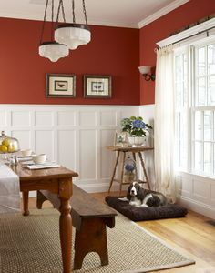 Georgian Wainscot. This is a great way to accomplish two things: add highly crafted style and add loads of color without it overwhelming the room.