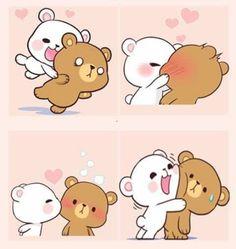 Cute Love Gif, Cute Love Pictures, Cute Bear Drawings, Kawaii Drawings, Cute Couple Cartoon, Cute Kawaii Animals, Cute Love Cartoons, Cute Doodles, Kawaii Wallpaper