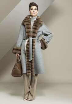 Sable Trimmed Cashmere Coat